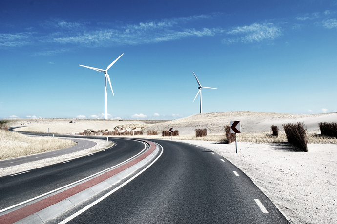Wind Turbines along Road